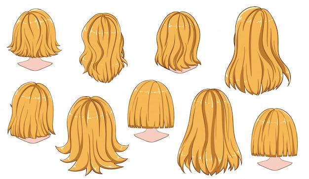 Penteado bonito da coleção de cabelo de mulher