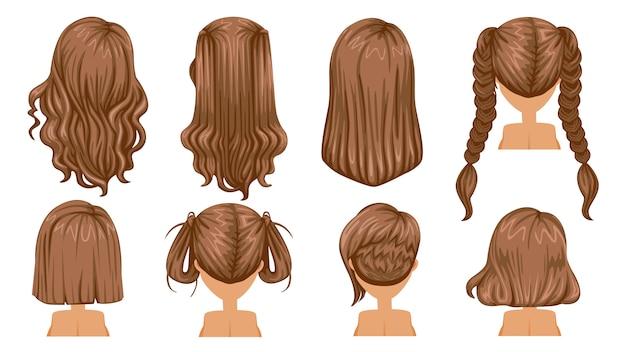 Penteado cabelo de mulher. visão traseira. moda moderna para sortimento.