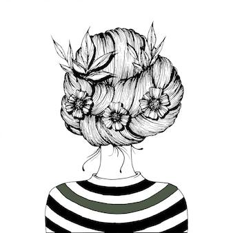 Penteado com flores.