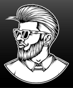 Penteado de homem barbudo desenhado de mão.