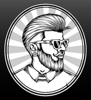 Penteado de homem hipster monocromático.