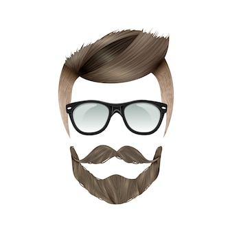 Penteado realista de hipster