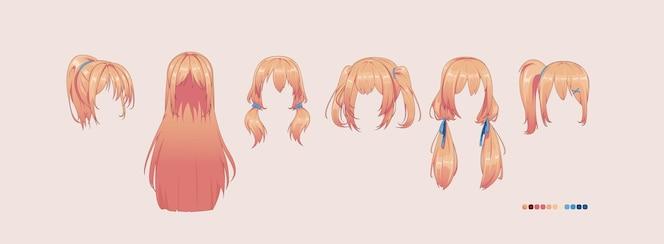 Penteados de anime mangá isolados no branco