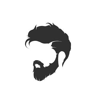 Penteados de homem e corte de cabelo com bigode de barba no rosto. ilustração