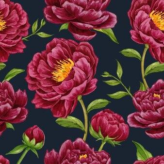 Peônia borgonha flor desenhada à mão sem costura padrão