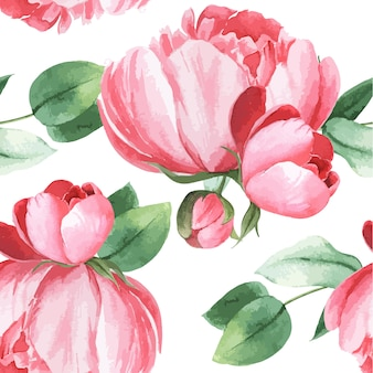 Peônia flores aquarela padrão sem costura floral botânica aquarela estilo vintage têxtil