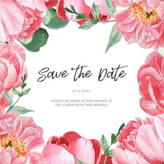 Peônia rosa florescendo flor botânica aquarela cartões de casamento convite floral aquarelle