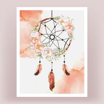 Peônias apanhador de sonhos em aquarela, pêssego, pena branca rosa