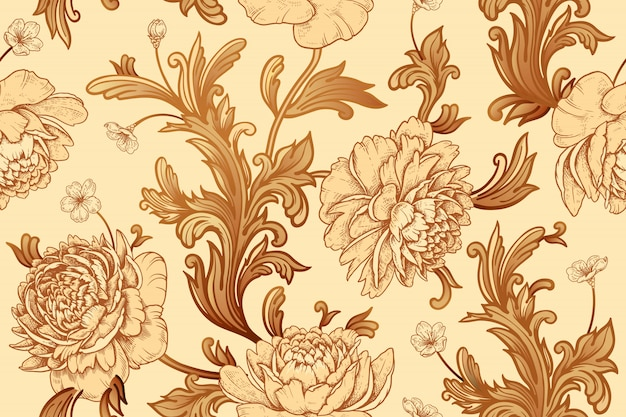 Peônias de flores no jardim e elementos de decoração barroca. padrão sem emenda.