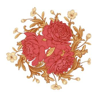 Peônias luxuosas de flores no jardim e detalhes em ornamento de estilo barroco. ramalhete.