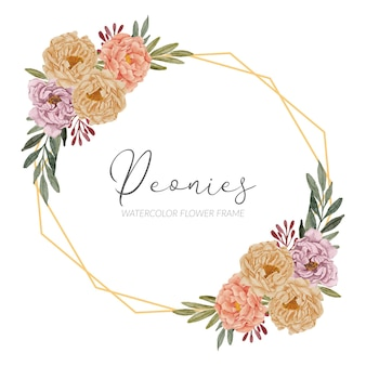 Peônias pintadas à mão buquê floral curva canto ilustração estilo aquarela