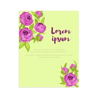 Peônias roxas vintage no quadro com sinal
