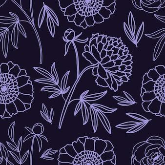 Peônias. teste padrão decorativo floral. . padrão sem emenda sobre um fundo branco e isolado