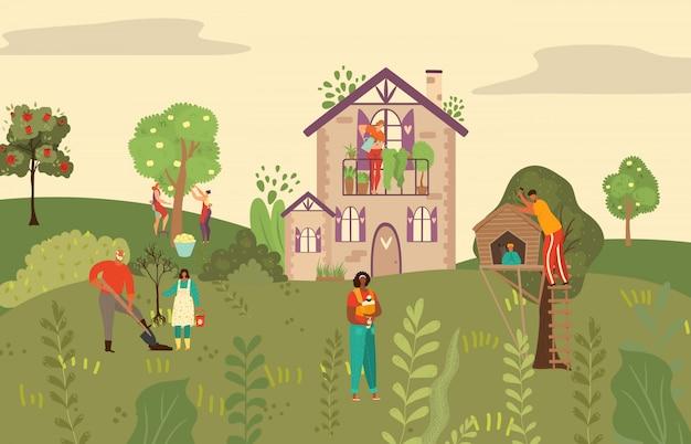 Peope, árvores e plantas no jardim de frutas, natureza, ecologia e plantio, ilustração dos desenhos animados botanica.