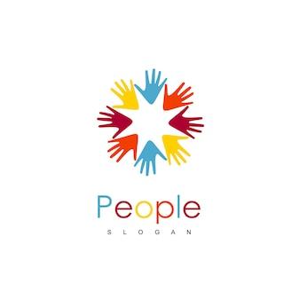 People hand community logo Vetor Premium