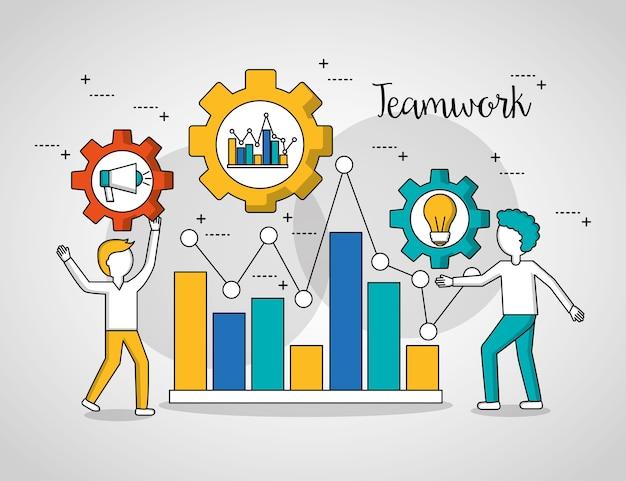 People teamwork graph statistics meninos mostrando o progresso