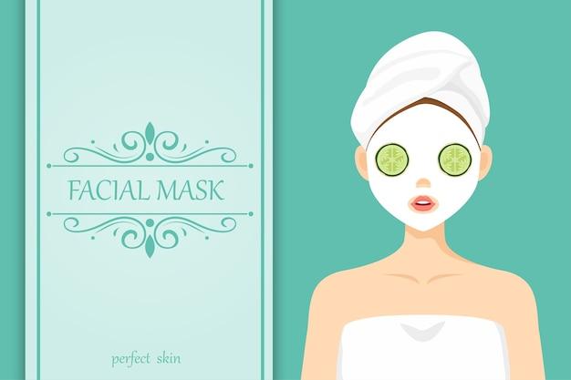 Pepino de máscara facial de personagem bonito de ilustração Vetor Premium