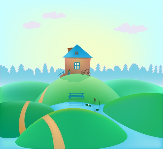 Pequena casa bonita nas colinas, paisagem de verão, fundo da natureza