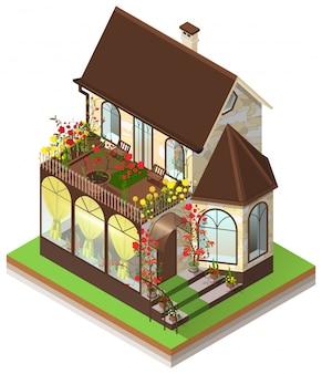 Pequena casa de pedra privada com janela de sacada e jardim no terraço. 3d isométrico