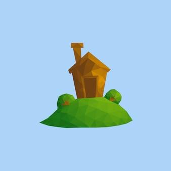 Pequena casa engraçada na colina verde. cena da paisagem da aldeia da natureza ao ar livre