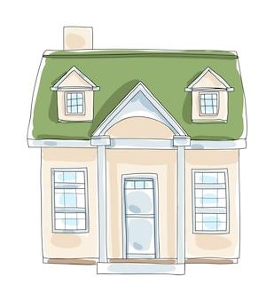 Pequena casa minúscula casa chalé vintage mão desenhada vector