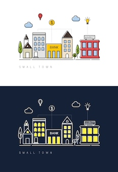 Pequena cidade dia a noite