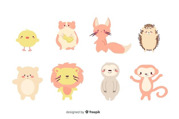 Pequena coleção de animais bonito dos desenhos animados