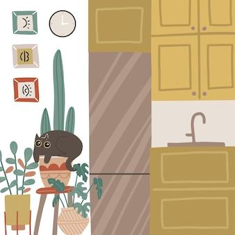 Pequena cozinha elegante e aconchegante interior higiênico humor aconchegante quarto escandinavo móveis de design e geladeira entre plantas suculentas