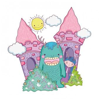 Pequena fada com monstro no castelo