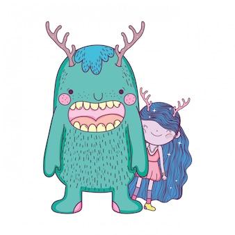 Pequena fada com personagens de monstros