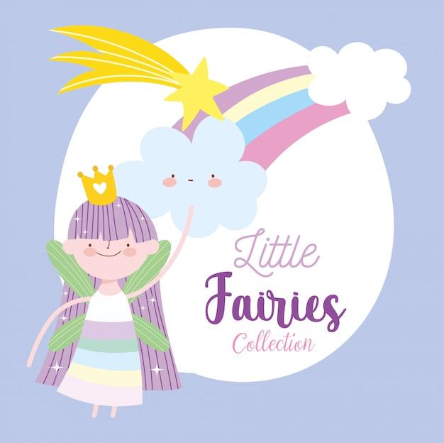 Pequena fada princesa arco-íris estrela cadente nuvens conto cartoon