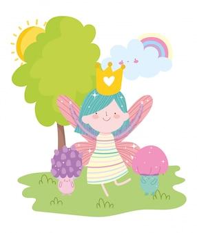 Pequena fada princesa cogumelo arco-íris nuvem fantasia conto dos desenhos animados