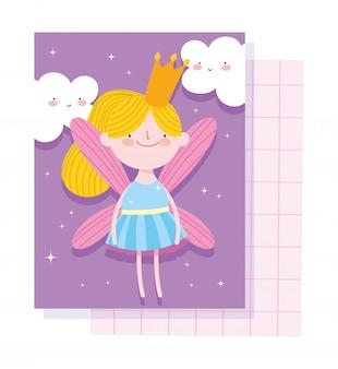 Pequena fada princesa conto personagem de desenho animado com coroa