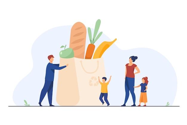 Pequena família na sacola com alimentos saudáveis. ilustração plana de pais, filhos, vegetais frescos