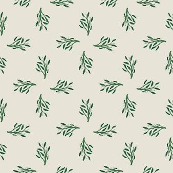 Pequena folha verde ramos padrão desenhado de mão sem emenda. fundo rosa claro.