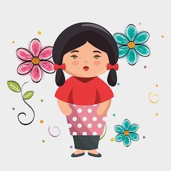 Pequena garota japonesa kawaii com caráter de flores
