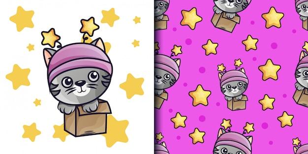 Pequena ilustração de gato e padrão sem emenda
