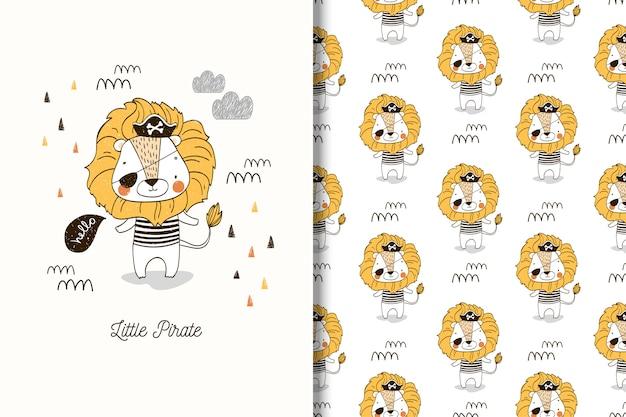 Pequena ilustração de leão pirata e sem costura padrão para meninos