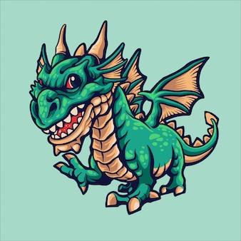 Pequena ilustração dos desenhos animados de dragão