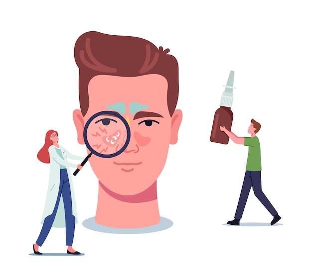 Pequena médica personagem feminina com lupa representando sinusite na enorme cabeça masculina. homem traz remédio para tratamento de nariz