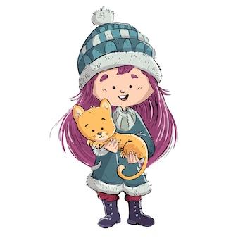Pequena menina com seu gato nos braços