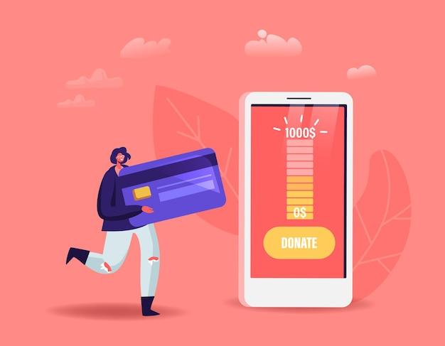 Pequena personagem feminina com cartão do banco usa aplicativo móvel para doação