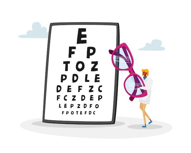 Pequena personagem médica carregando uma enorme ilustração de óculos