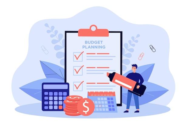 Pequena pessoa planejando orçamento