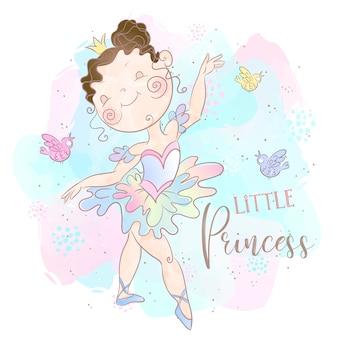 Pequena princesa bailarina dançando