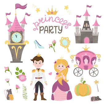 Pequena princesa cinderela definir objetos. coleção com menina bonita, príncipe, transporte, relógio, espelho, acessórios.