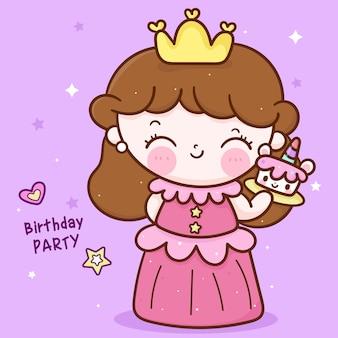 Pequena princesa de fada segurando desenho de bolo de unicórnio para personagem kawaii de festa de aniversário