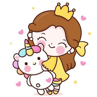 Pequena princesa fada abraço cartoon boneca unicórnio amigo fofo personagem kawaii