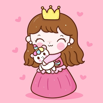 Pequena princesa fada abraço cartoon unicórnio fofa amizade personagem kawaii