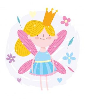 Pequena princesa fada com coroa de ouro dos desenhos animados de conto de flores